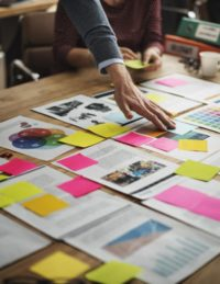 documents flagged with sticky notes