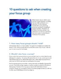 10 Questions to Ask When Creating Your Focus Group