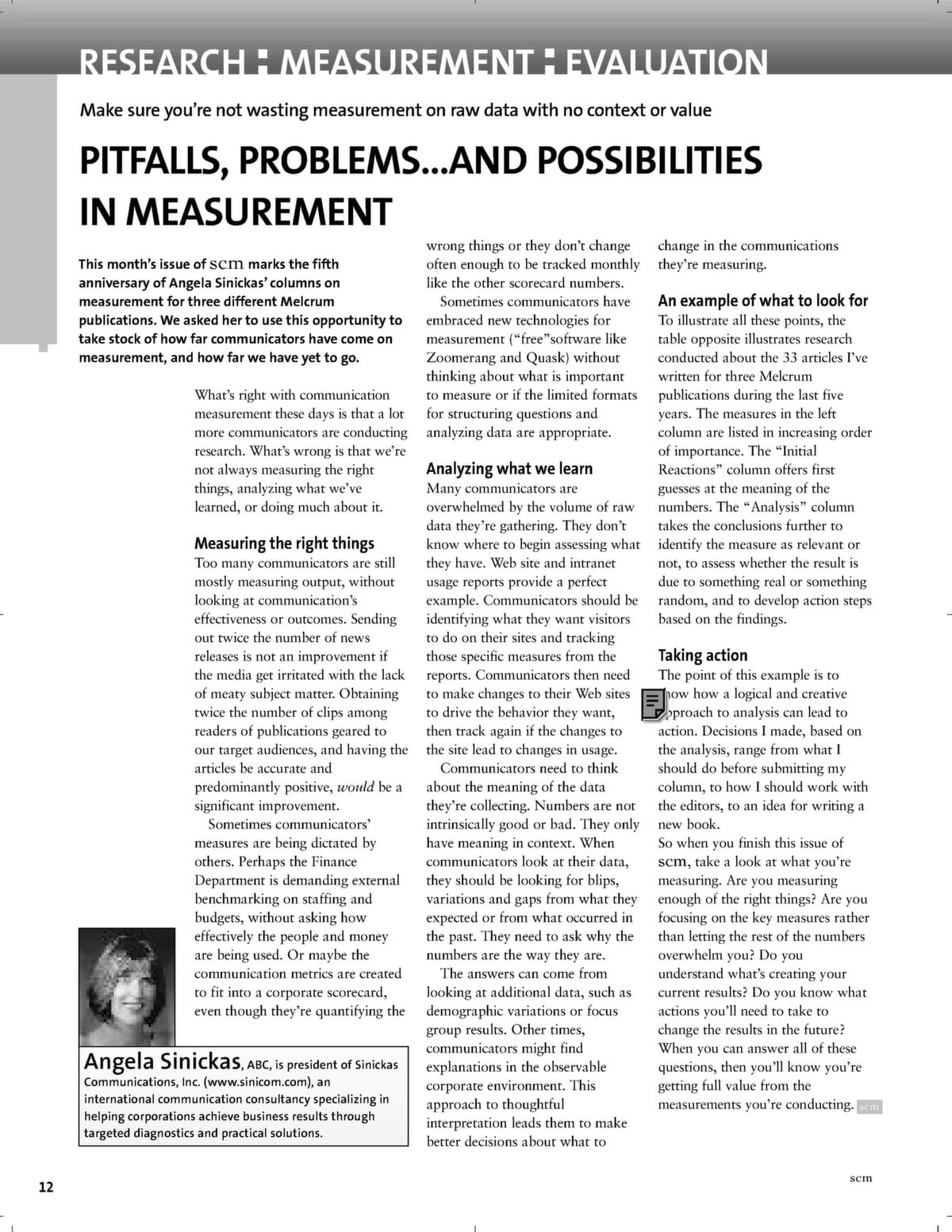 Pitfalls, problems   and possibilities in measurement