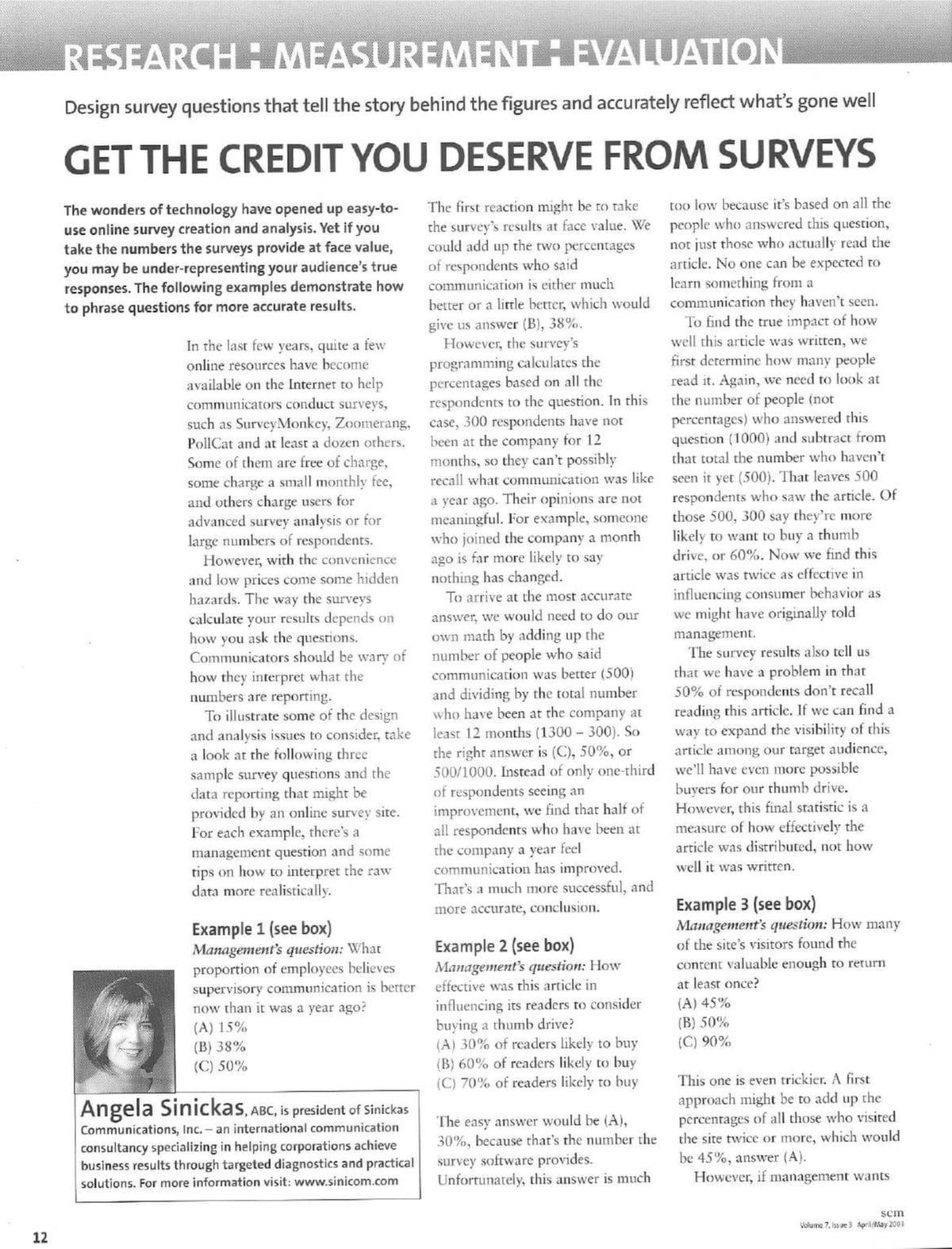 get the credit you deserve from surveys sinickas communications inc
