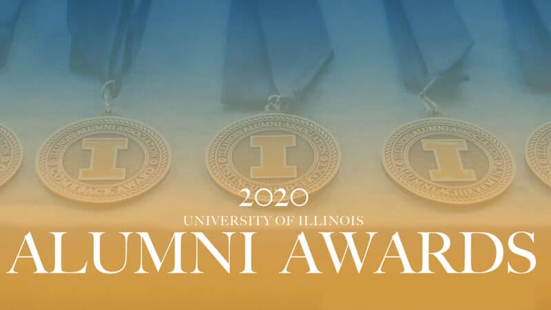 2020 University of Illinois Alumni Awards cover image with medals.