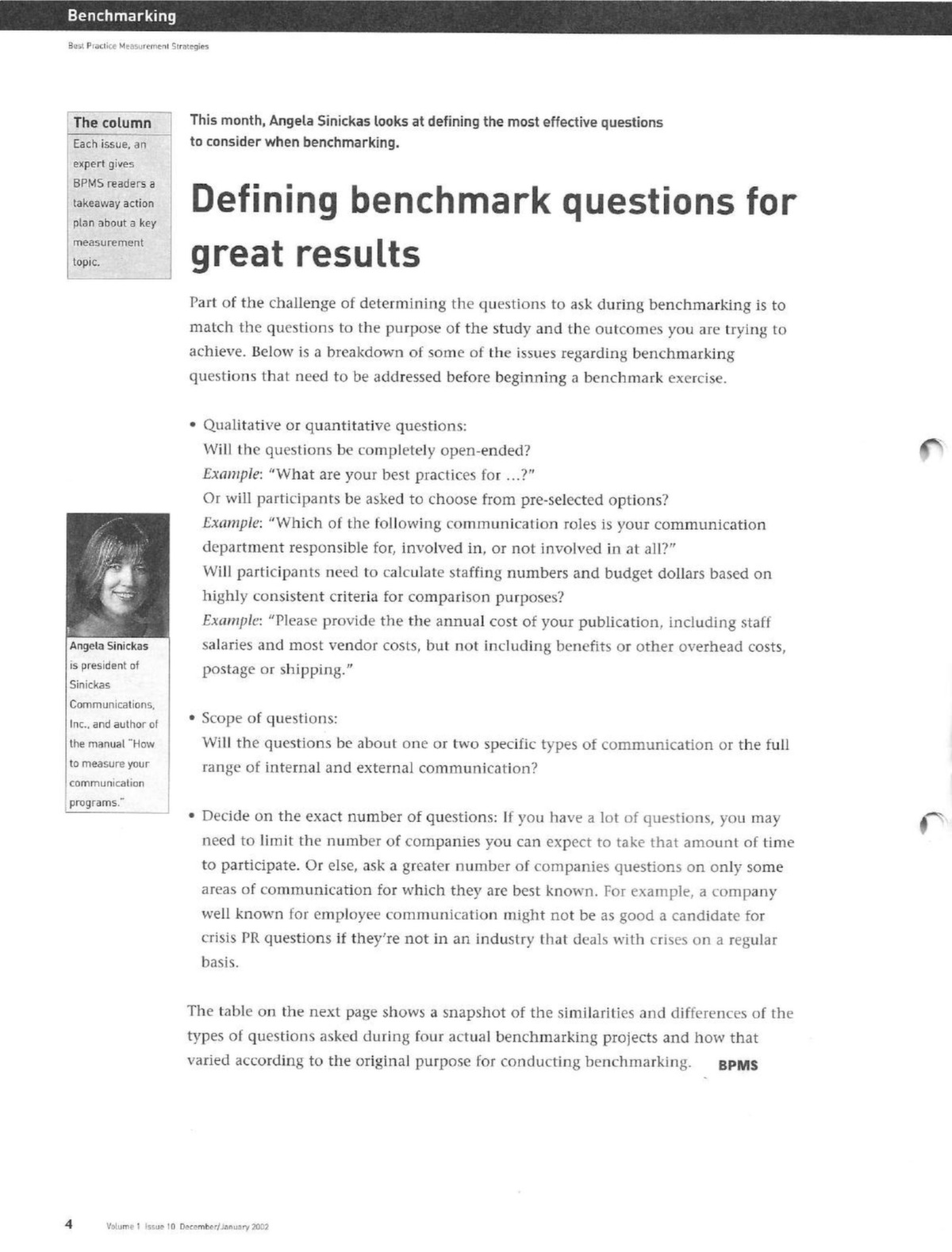 Defining benchmarking questions for great results - Sinickas